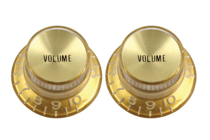 Allparts PK-0184 Gold Top Hat Set of 2 Reflector Volume Knobs