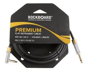 RockBoard Premium Flat Lead Cable 20 Foot / 600CM Straight to Angled - Megatone Music