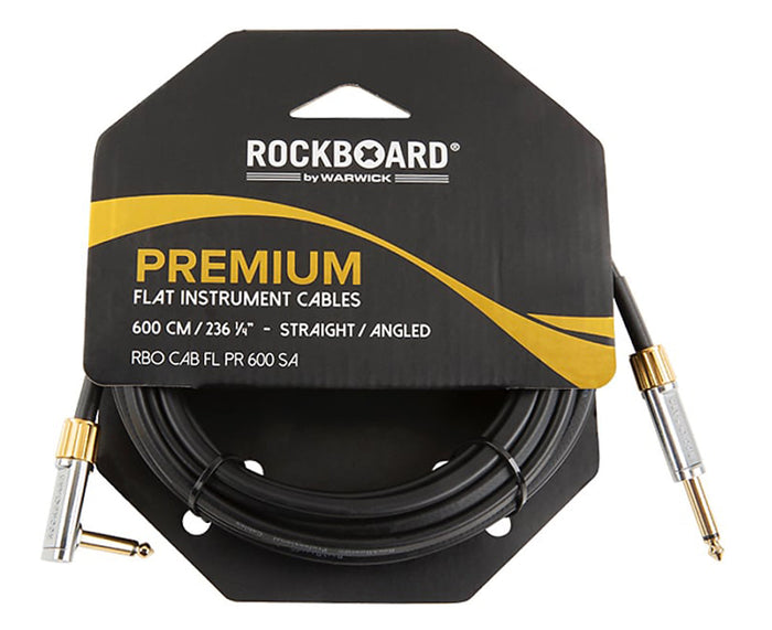 RockBoard Premium Flat Lead Cable 20 Foot / 600CM Straight to Angled