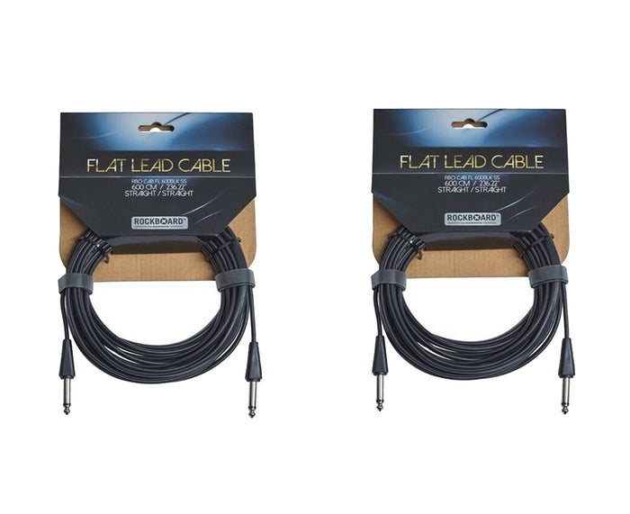 "RockBoard Flat Lead Cable 600CM / 236.22"" / 20 Foot Straight to Straight 2-Pack"
