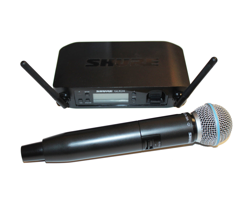 Shure GLXD4 Wireless Receiver System, GLXD2 Handheld Transmitter and Beta 58A Microphone