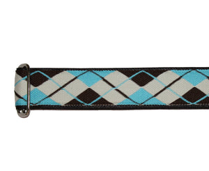 "Souldier 2.0"" Argyle Brown and Light Blue Custom Guitar Strap - Megatone Music"