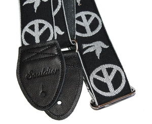 "Souldier 2.0"" Peace ""Neil Young"" in Black - Custom Guitar Strap - Megatone Music"