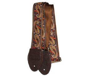"Souldier 2.0"" Paisley Brown and Gold Custom Guitar Strap - Megatone Music"
