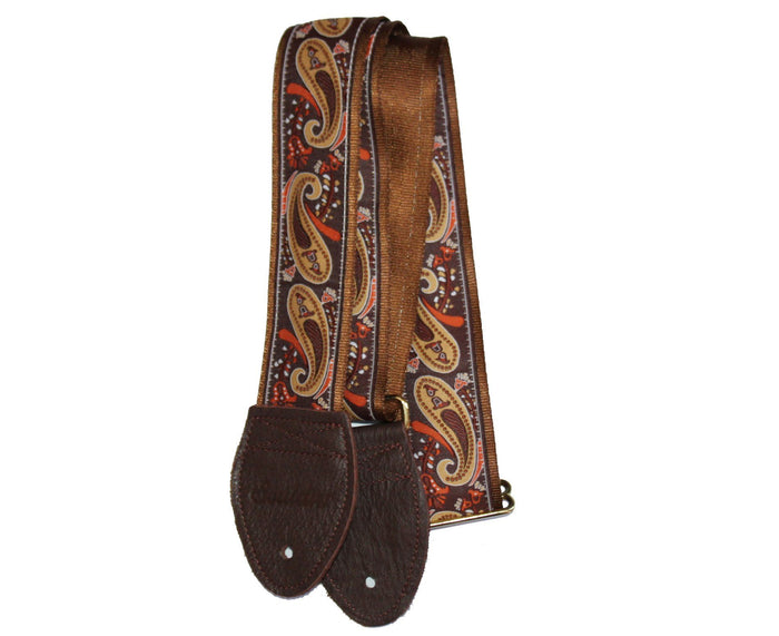 "Souldier 2.0"" Paisley Brown and Gold Custom Guitar Strap"