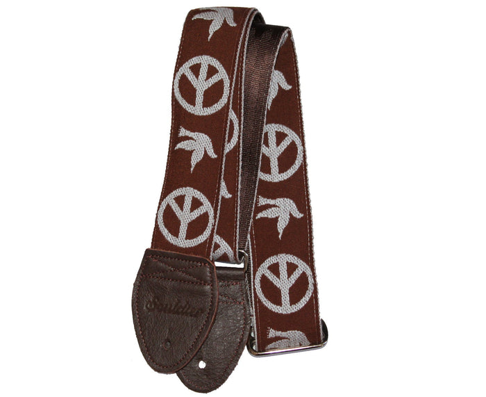 "Souldier 2.0"" Peace ""Neil Young"" Brown Custom Guitar Strap"