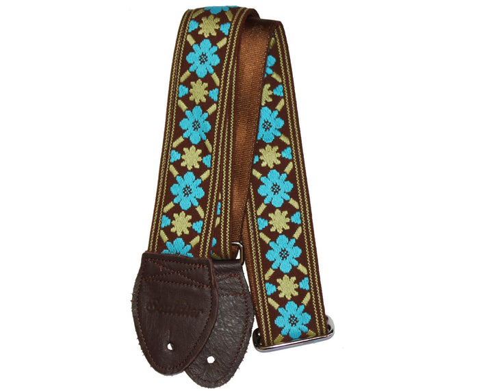 "Souldier 2.0"" Tulip Brown and Turquoise Custom Guitar Strap"