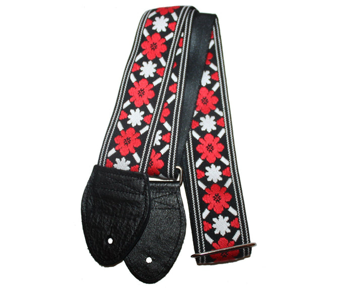 "Souldier 2.0"" Tulip Red and Black Custom Guitar Strap"