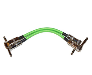 "Strukture 6"" Inch Neon Green Right Angle Pedal Cable - 2 Cables"