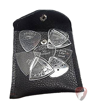 V-Picks 8 Assorted Guitar Picks With Leather Pick Pouch - Megatone Music