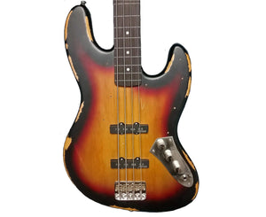 "Vintage Icon V74MRJP ""Jaco"" Fretless Jazz Bass in Sunset Sunburst"