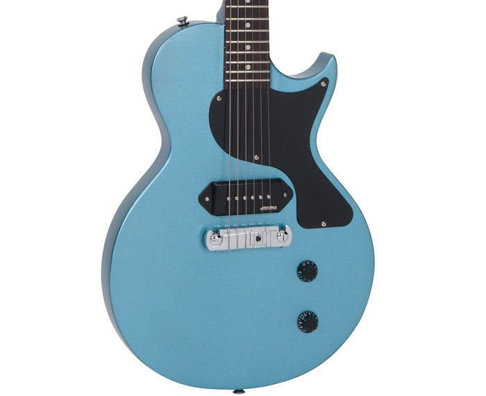 Vintage Reissue V120GHB LP Jr. Style Electric Guitar in Gun Hill Blue