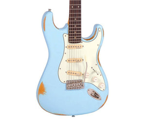 Vintage Reissue V6MRLB Distressed Stratocaster Electric Guitar in Laguna Blue Electric Vintage Reissue