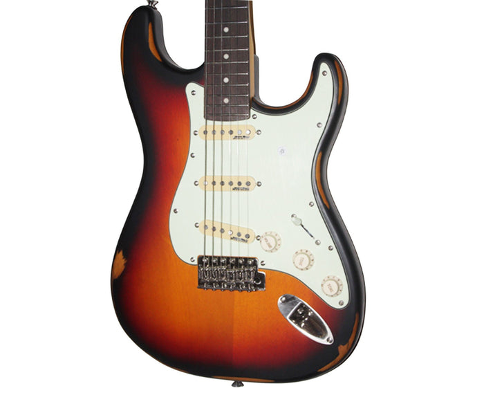 Vintage Icon V6MRSSB Distressed Stratocaster Electric Guitar in Sunburst