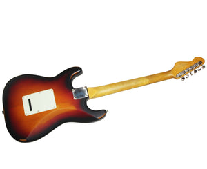 Vintage Icon V6MRSSB Distressed Stratocaster Electric Guitar in Sunburst - Megatone Music