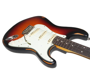Vintage Reissue V6MRSSB Distressed Stratocaster Electric Guitar in Sunburst - Megatone Music