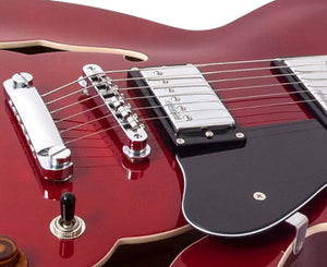 Vintage Reissue VSA500CR Semi-Hollow Electric Guitar in Cherry Red - Megatone Music
