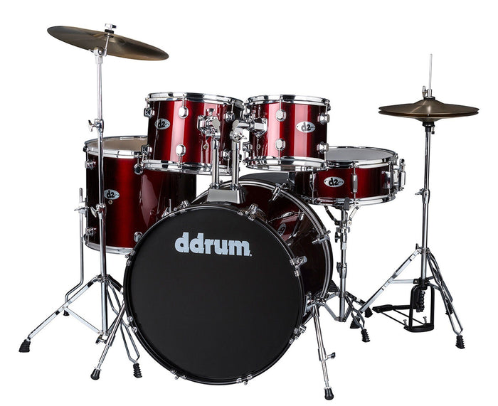 ddrum D2 Complete 5-Piece Drum Kit w/Cymbals in Blood Red
