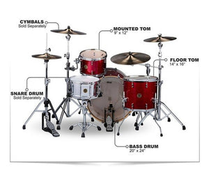 ddrum Dios DSMP-324RCS 3-Piece Cherry Sparkle Shell Pack - Megatone Music