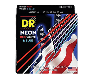 DR Neon Red White Blue Electric Guitar Strings Medium 10-46 NUSAE - Megatone Music