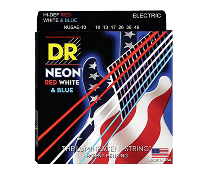 DR Neon Red White Blue Electric Guitar Strings Medium 10-46 NUSAE
