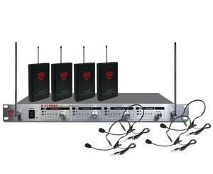Nady U-41 Quad HM3 Headset 4 Channel UHF Wireless Mic System Wireless Microphone System Nady