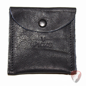 V-Picks Black Leather Pick Pouch for Storing all of your V Picks - Megatone Music