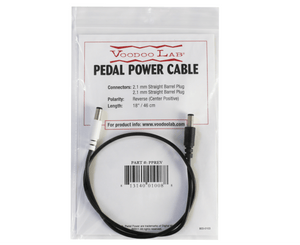 Voodoo Lab Pedal Power DC Cable - 2.1mm Reverse Polarity (Center Positive) Straight Barrel Cable - Megatone Music