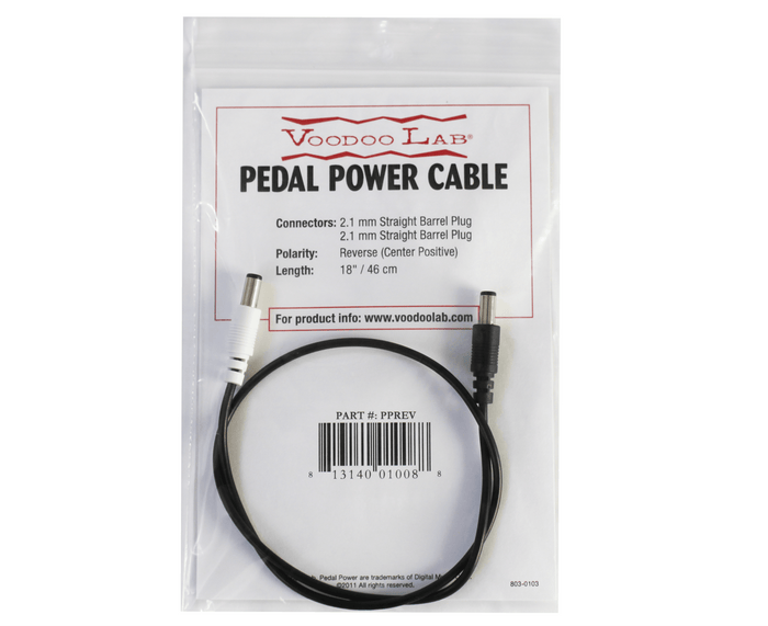 Voodoo Lab Pedal Power DC Cable - 2.1mm Reverse Polarity (Center Positive) Straight Barrel Cable