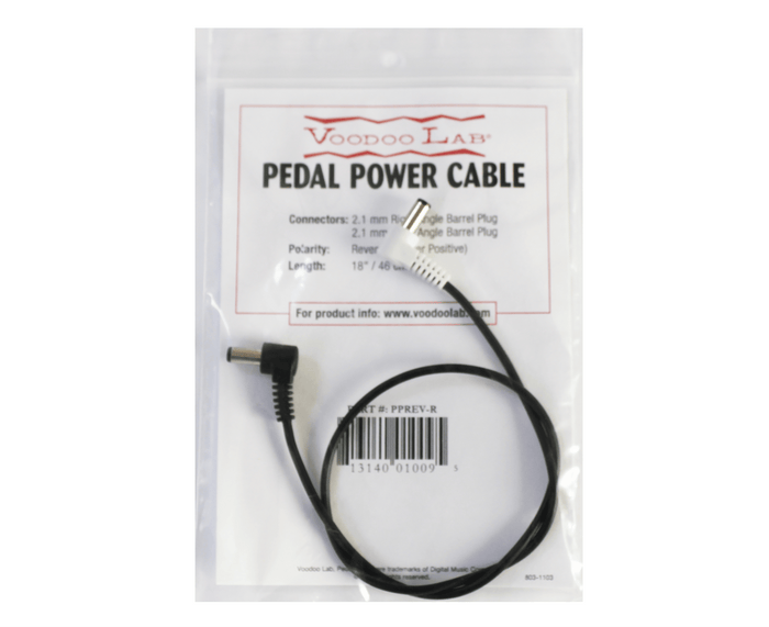 Voodoo Lab Pedal Power DC Cable - 2.1mm PPREV-R Reverse Polarity (Center Positive) RA Barrel Cable