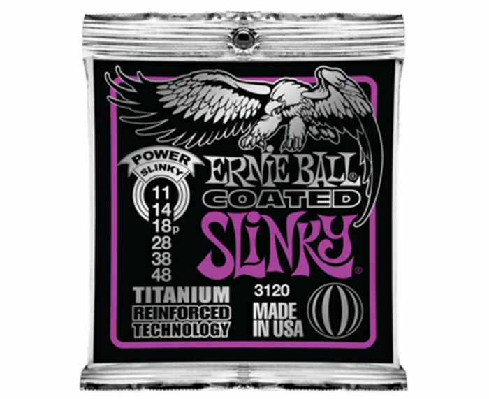 Ernie Ball 3120 Coated Titanium Power Slinky 11-48 Electric Guitar Strings
