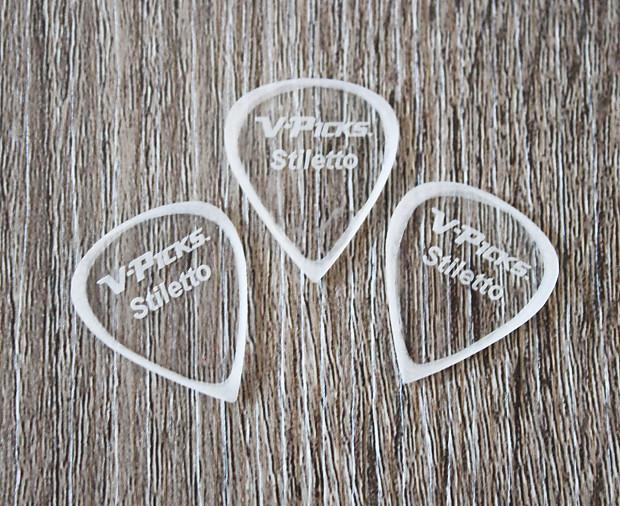 V-Picks Stiletto Ghost Rim Custom Guitar Pick 1.5mm 3-Pack