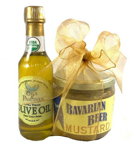 Gourmet Mustard/Organic Olive Oil Gift Set - Choice of 3 Mustard Flavors
