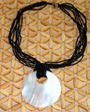 Black Beaded Shell Necklace - Natural Artist