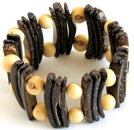 Coconut and Seed Bracelet - Calista - Natural Artist