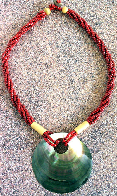 Red Beaded Large Shell Necklace - Natural Artist