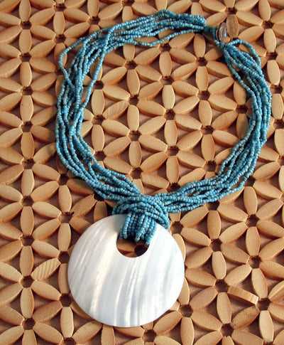Turquoise Color Beaded Shell Necklace - Natural Artist