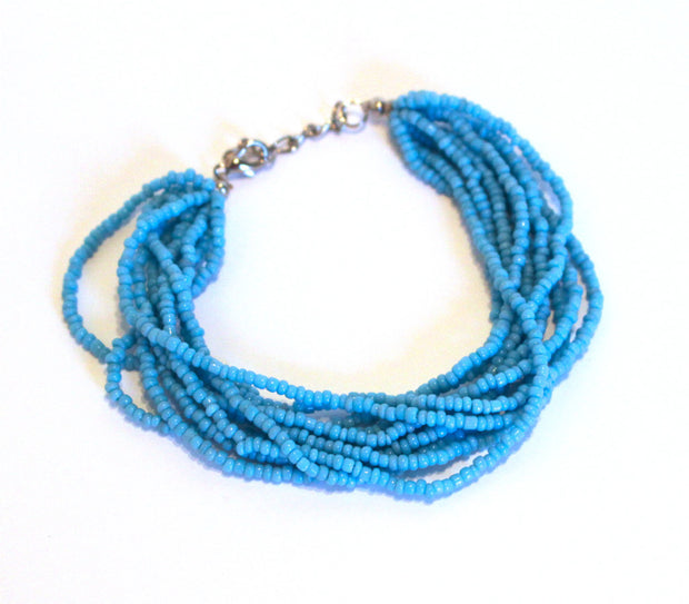 Turquoise Color Beaded Multi Strand Mayan Bracelet - Natural Artist