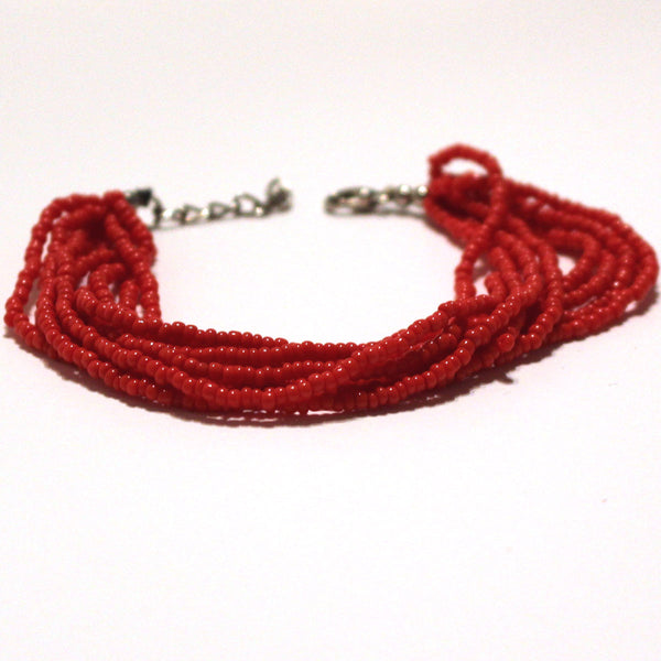 Red Beaded Multi Strand Mayan Bracelet - Natural Artist