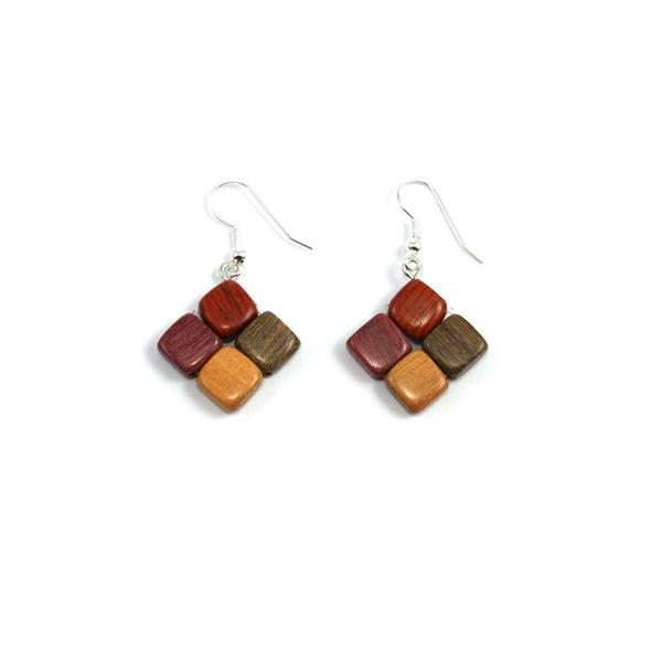 Mixed Wood Earrings - Diamond - Natural Artist
