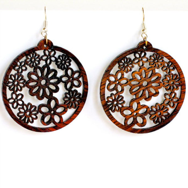 Rosewood Earrings - Millefiori - Natural Artist