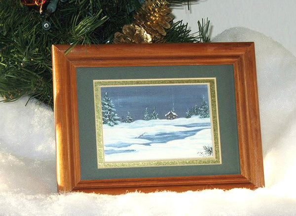 Winter Miniature Print - Log Cabin - Natural Artist