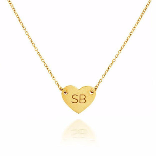HEART NAMEPLATE NECKLACE - GOLD