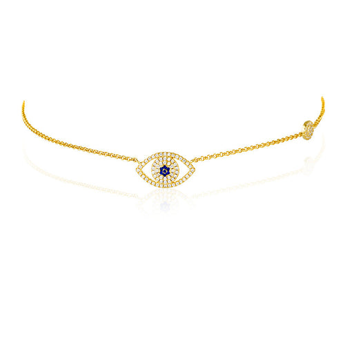 EVIL EYE CHOKER NECKLACE - GOLD