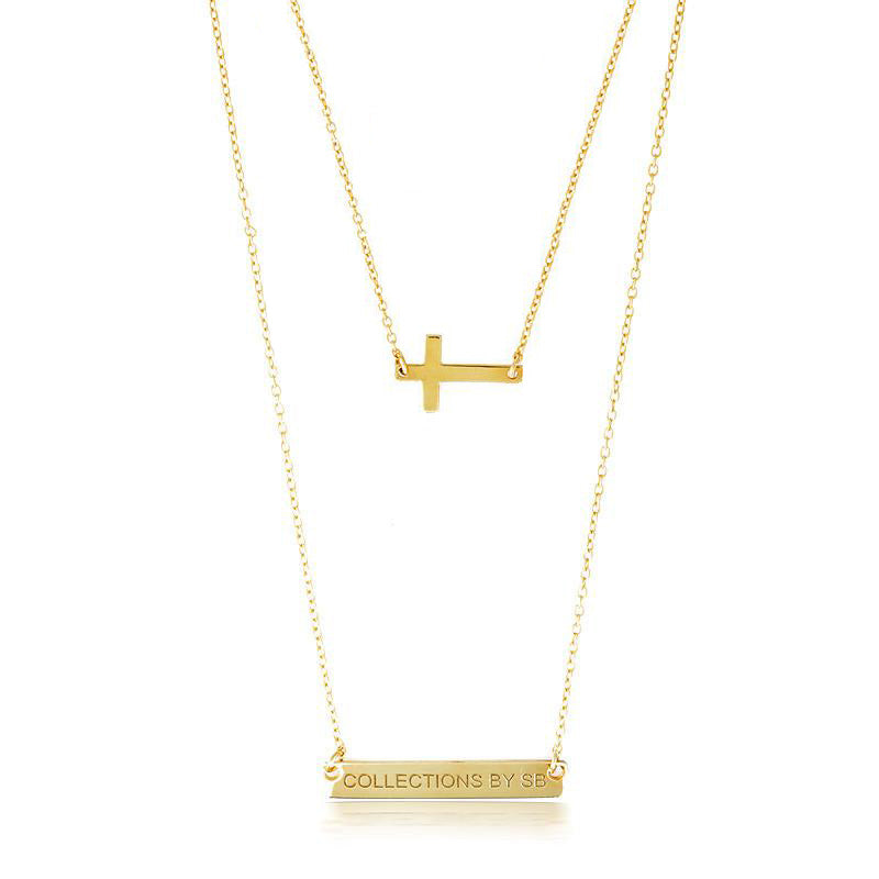 DOUBLE LAYER CROSS & NAME PLATE NECKLACE - GOLD