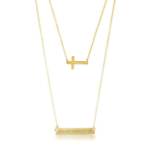 DOUBLE LAYER CROSS & NAMEPLATE NECKLACE