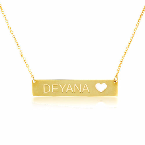 CUT OUT HEART NAMEPLATE NECKLACE - GOLD