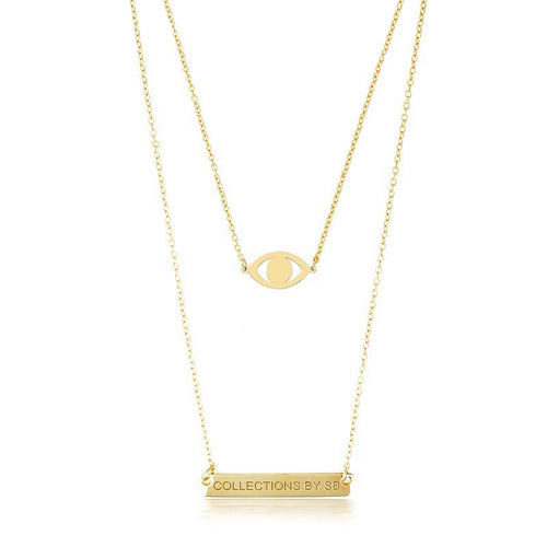 DOUBLE LAYER EVIL EYE & NAMEPLATE NECKLACE - GOLD