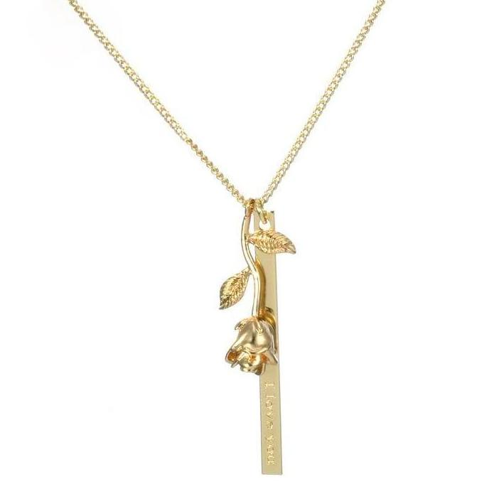 ROSE & NAMEPLATE NECKLACE - GOLD