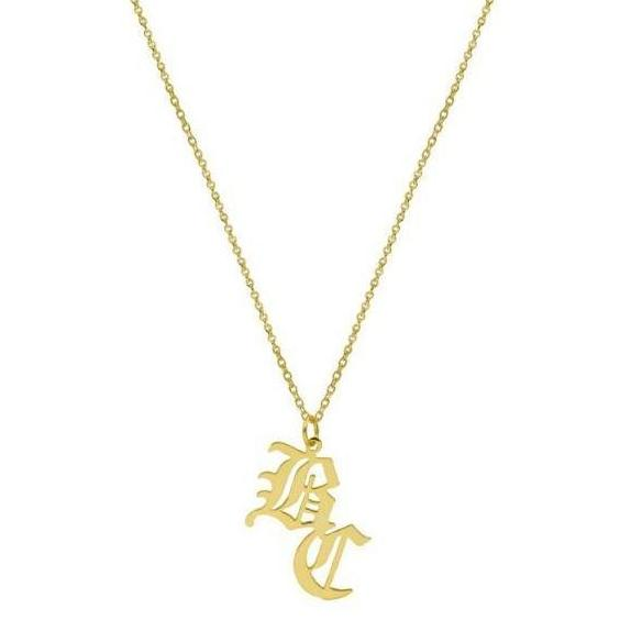 GOTHIC DOUBLE INITIAL NECKLACE